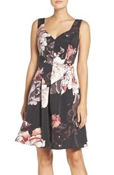 Adrianna Papell Women's Floral Print Faille Fit And Flare Dress