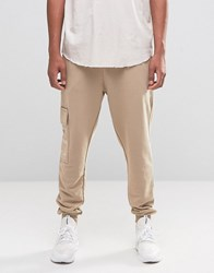 Asos Tapered Joggers With Cargo Pockets And Military Print Stone Beige