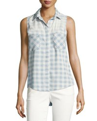 Chelsea And Theodore Gingham Print Sleeveless Denim Top Blue White