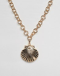 Designb London Oversized Shell Pendant Neckace Gold