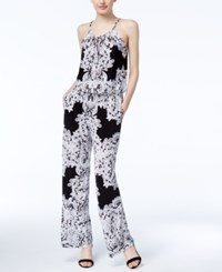 Inc International Concepts Lace Print Jumpsuit Only At Macy's Deep Black