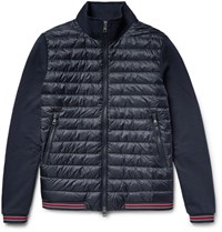Moncler Loopback Cotton Jersey And Quilted Shell Down Bomber Jacket Navy
