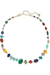 Chan Luu Gold Plated Multi Stone Necklace Blue