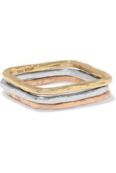 Adina Square Stack White Yellow And Rose Gold Rings Metallic