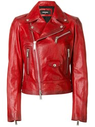 Dsquared2 Kiodo Biker Jacket Women Cotton Calf Leather Polyester Viscose 42