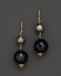 Bloomingdale's Faceted Black Onyx And Pyrite Bobby Drop 14K Yellow Gold Earrings Yellow Black