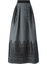 Alberta Ferretti Pleated Maxi Skirt Grey