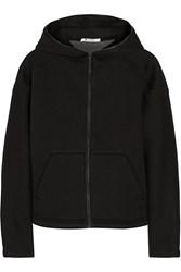 Alexander Wang Leather Trimmed Scuba Hooded Sweater Black