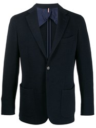 Dell'oglio Textured Plain Blazer Blue