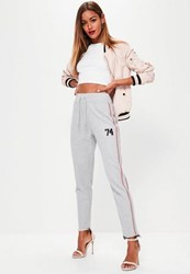 Missguided Grey Pintuck Front Stripe Logo Joggers