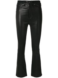 Rag And Bone Jean Cropped Leather Trousers Black