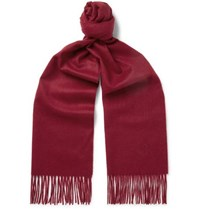 Kingsman Johnstons Of Elgin Fringed Cashmere Scarf Burgundy