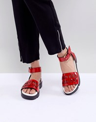 Emporio Armani Logo Leather Sandal With Wrap Angle Buckle Red White