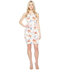 Ivanka Trump Printed Matte Jersey With Hardwarwe Ivory Coral Women's Dress Red