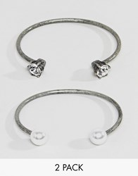 Steve Madden 2 Piece Pearl And Stone Casted Open Cuff Bracelet Silver