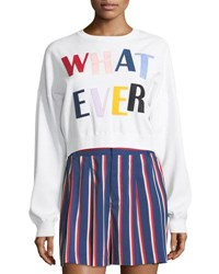 Alice Olivia Leena Whatever Cropped Sweatshirt White Pattern