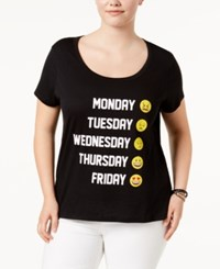 Freeze 24 7 Trendy Plus Size Cotton Emoji Graphic T Shirt True Black