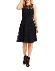 Donna Morgan Sleeveless Lace Fit And Flare Dress Black Marine