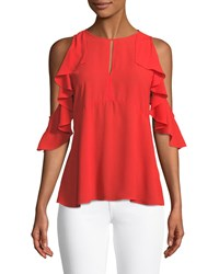 Neiman Marcus Ruffled Cold Shoulder Blouse Red