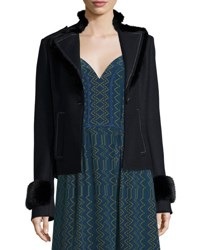 Derek Lam Whipstitched Mink Fur Detail Jacket Navy