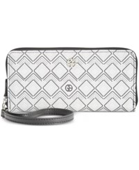 Giani Bernini Graphic Signature Slim Zip Around Wallet Only At Macy's White Black