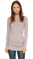 Three Dots Ribbed Knit Tunic Mauvewood