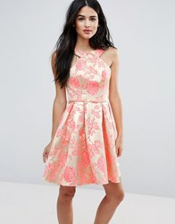 Forever Unique Printed Pleated Dress Jacquard Rose Multi