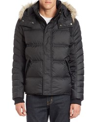 Andrew Marc New York Faux Fur Trimmed Puffer Coat Black