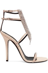 Giuseppe Zanotti Alien Crystal Embellished Python Effect And Patent Leather Sandals Beige Gbp