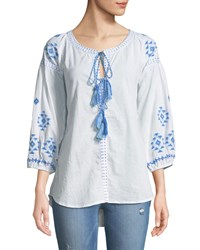 Raj Tie Neck Embroidered Peasant Blouse White Blue