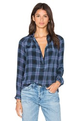 Rebecca Taylor Long Sleeve Plaid Top Blue