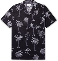 Onia Vacation Camp Collar Printed Cotton And Modal Blend Shirt Black