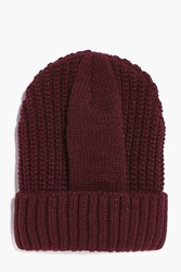 Boohoo Fisherman Beanie Burgundy