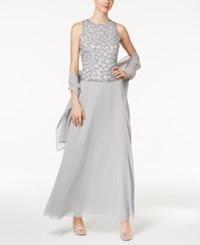 J Kara Sequined Mock 2 Pc. Gown And Shawl Silver