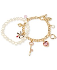 Betsey Johnson Gold Tone 2 Pc. Set Charm And Imitation Pearl Bracelets White Gold