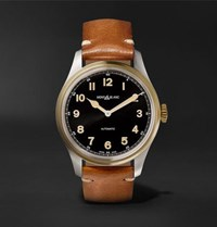 Montblanc 1858 Automatic 40Mm Stainless Steel Bronze And Leather Watch Black
