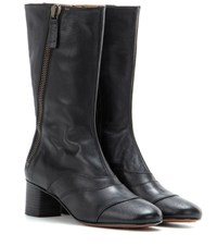 Chloe Lexie Mid Calf Leather Boots Black
