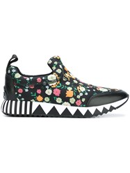 Tory Burch Floral Print Sneakers Black