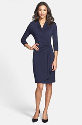 Karen Kane Women's Cascade Faux Wrap Dress Navy