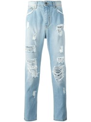 Iceberg Ripped Slim Fit Jeans Blue