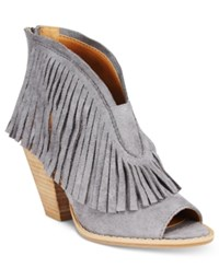 Dolce By Mojo Moxy Tabby Fringe Booties Women's Shoes Flint