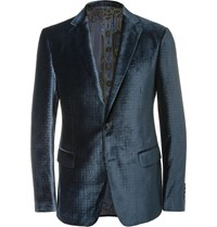 Etro Blue Slim Fit Debossed Velvet Blazer Blue