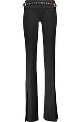 Just Cavalli Studded Stretch Jersey Bootcut Pants Black
