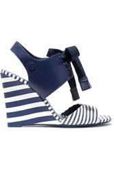 Tory Burch Maritime Lace Up Striped Leather Wedge Sandals Navy