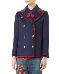 Gucci Wool Short Coat With Embroidery Blue Bordeaux