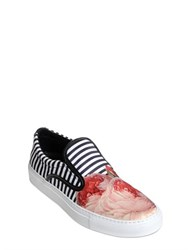 Mother Of Pearl Striped Techno Satin Slip On Sneakers