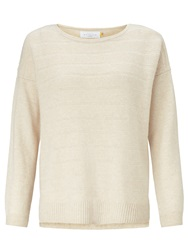 Collection Weekend By John Lewis Textured Stripe Cashmere Jumper Champagne