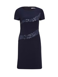 Gina Bacconi Moss Crepe And Sequin Panel Dress Navy