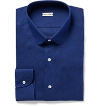 Caruso Slim Fit Penny Collar Slub Linen Shirt Royal Blue