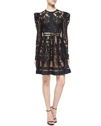 Elie Saab Puff Sleeve Sheer Lace Fit And Flare Cocktail Dress